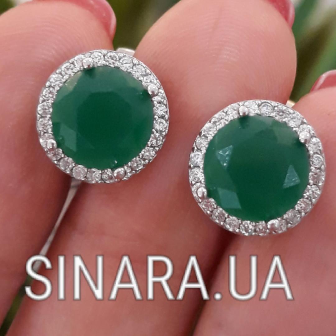 Серебряные серьги с зеленым кварцем  - Серьги с зеленым камнем серебро диам. 12 мм
