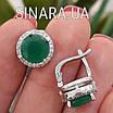 Срібний комплект: сережки і кільце із зеленим кварцом, фото 6