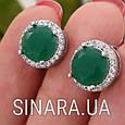 Серебряный комплект: серьги и кольцо с зеленым кварцем , фото 4