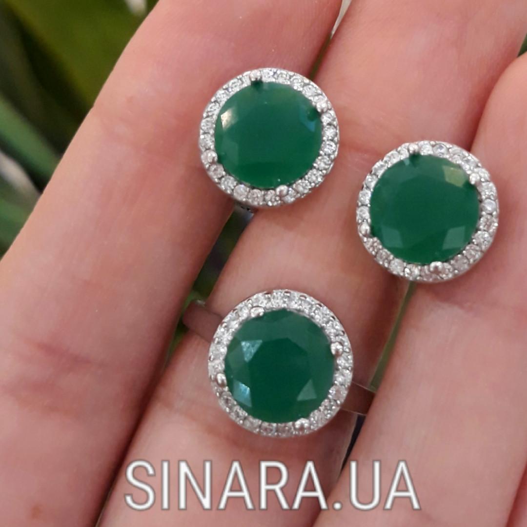 Срібний комплект: сережки і кільце із зеленим кварцом