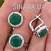 Срібний комплект: сережки і кільце із зеленим кварцом, фото 3