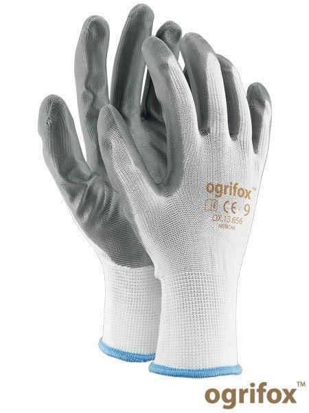 Перчатки защитные OX-NITRICAR WS серо-белые, полиэстер с нитриловимм покрытием - REIS размер 9