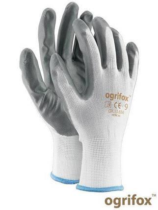 Перчатки защитные OX-NITRICAR WS серо-белые, полиэстер с нитриловимм покрытием - REIS размер 9, фото 2