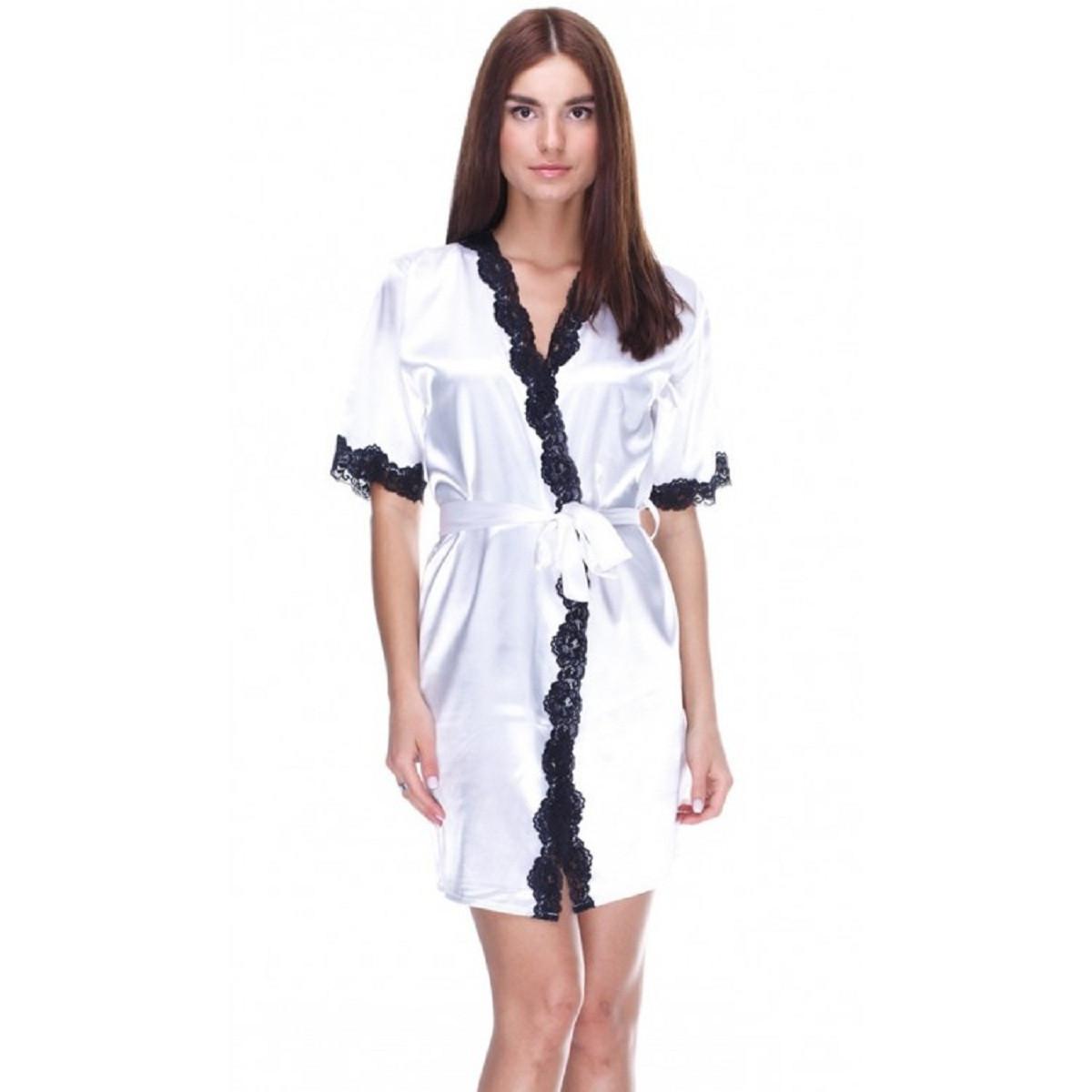 78acd9e06a06d6e Шелковый халат Serenade, арт. 101, экри-черный: продажа, цена в ...