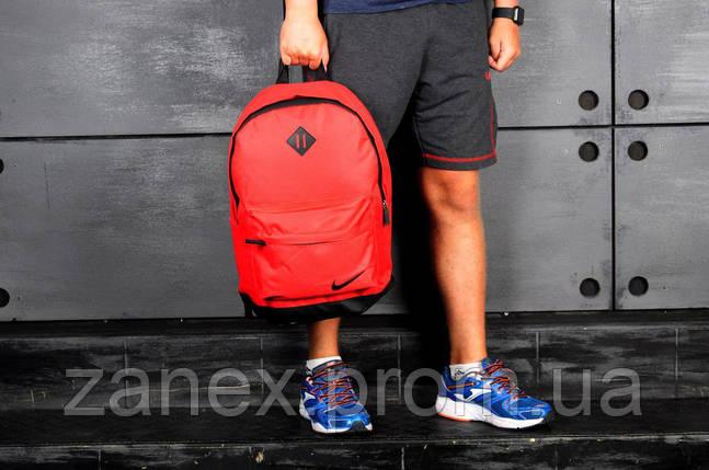 Рюкзак в стиле Nike городской мужской с отделением для ноутбука с кожаным дном (красный), фото 2