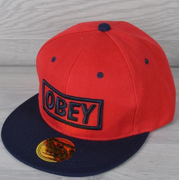 """Реперка взрослая """"OBEY"""". Размер 57-58 см. Красная+темно-синяя. Оптом и в розницу."""