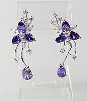 """Серьги с сиреневыми кристаллами """"Цветы"""" L-4,5 см"""