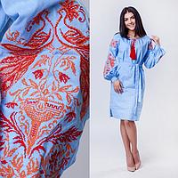 Женское платье вышиванка из сказочным узором Жар-птицы, голубого цвета