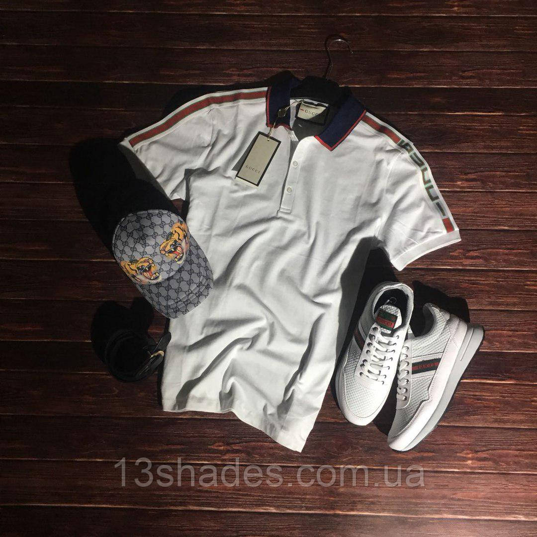 91fa25d16743 Футболка поло мужская Gucci белый - Интернет-магазин