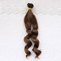Волосы для кукол в трессах волна на концах, теплый шоколад - 25 см