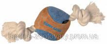 TX-35712 Игрушка Мяч замшевый на канате с узлами 6,5/25см для собак, фото 2