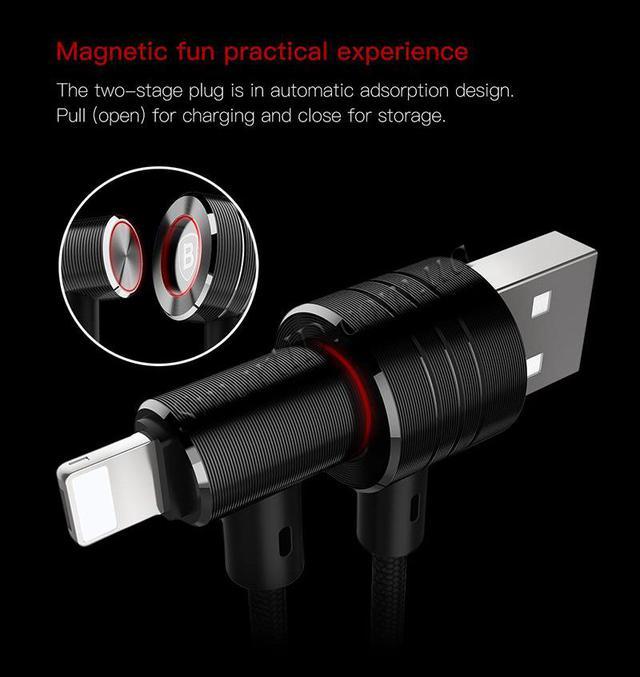 Baseus T-type Magnet Cable (CALTX-A1V) - кабель USB-Lightning/MicroUSB (Black/Gold)