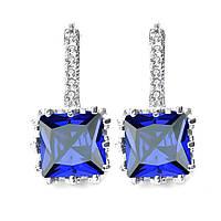 Серьги вечерние синие ювелирная бижутерия посеребрение 1420в-е