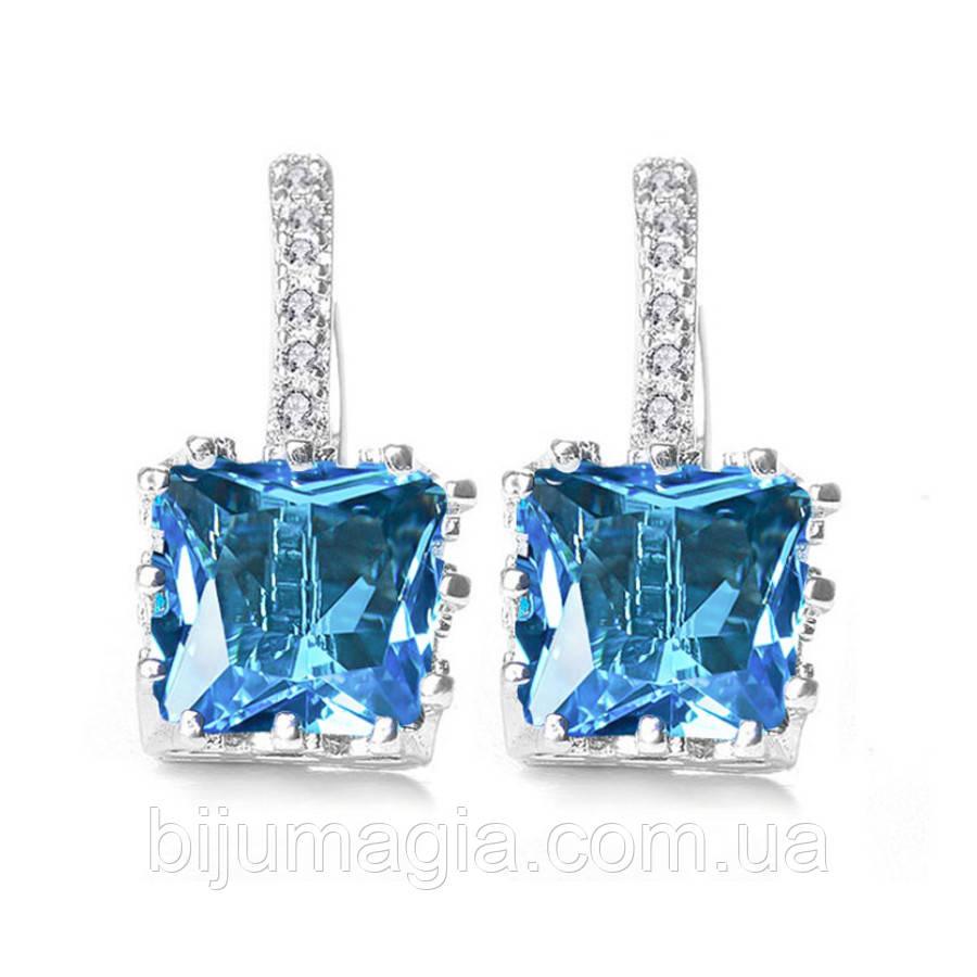Сережки вечірні блакитні ювелірна біжутерія сріблення 1420в-з