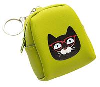 Мини-рюкзачок с котом зелёный - брелок на сумочку