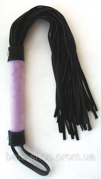 ПЛЕТКА L рукояти 160 мм L хвоста 300 мм, цвет фиолетовый/чёрный, PVC