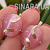 Серебряные серьги с розовым улекситом и золотом