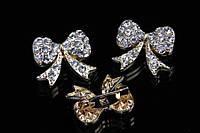 """Брошь """"Бантик 2"""" (золото) в белых камнях, украшения для одежды, ювелирная бижутерия"""