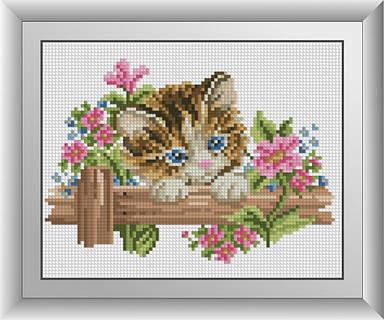 "Алмазная живопись набор R23х18 ""Котенок в цветах"""