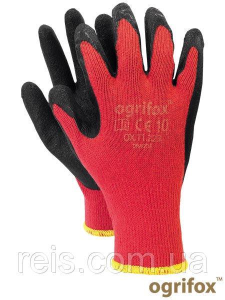Перчатки OX-DRAGOS CB трикотажные с латексным покрытием, черно-красного цвета, REIS, р.10