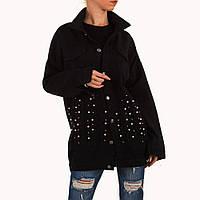 Джинсовая удлиненная куртка с бусинами Noemi Kent Paris (Франция) Черный