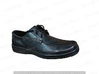Мужские туфли из кожи черные шнурок