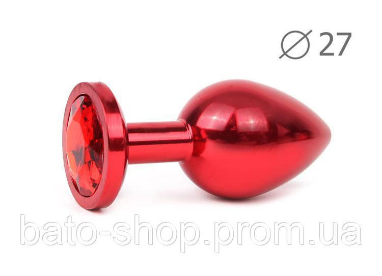 RED PLUG SMALL (втулка анальная), L 70 мм D 27 мм, вес 60г, цвет кристалла красный