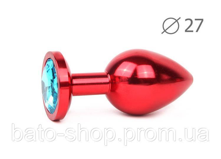 RED PLUG SMALL (втулка анальная), L 70 мм D 27 мм, вес 60г, цвет кристалла голубой