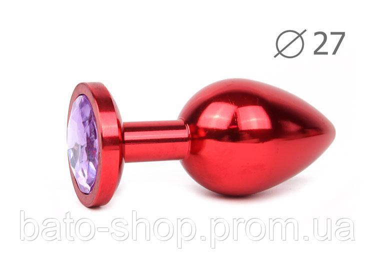 RED PLUG SMALL (втулка анальная), L 70 мм D 27 мм, вес 60г, цвет кристалла светло-фиолетовый