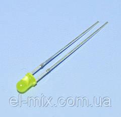 Світлодіод d3мм жовтий дифузний 70-150mcd; 30UY1D30-100 Toyo