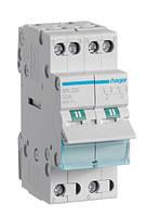 Переключатель I-II с общим выходом снизу, Hager 32/230В, 2-полюсный 2м