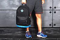 Рюкзак Nike городской мужской с отделением для ноутбука с кожаным дном (черный с голубым)