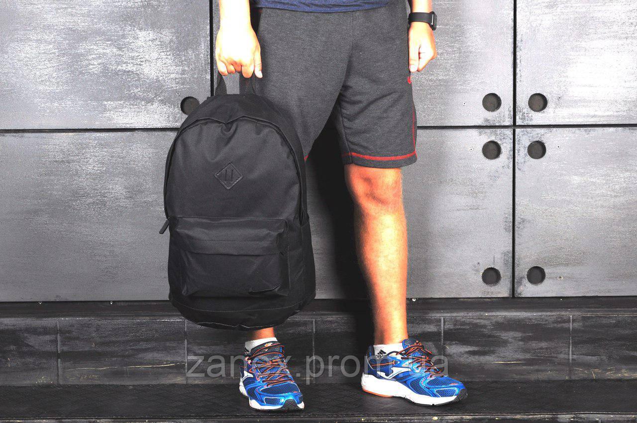 Рюкзак в стиле Nike городской мужской с отделением для ноутбука с кожаным дном (черный)