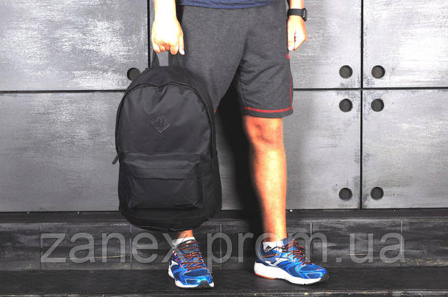 Рюкзак в стиле Nike городской мужской с отделением для ноутбука с кожаным дном (черный), фото 2