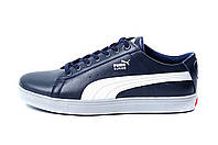 Мужские кожаные кеды Puma SUEDE Blue leather