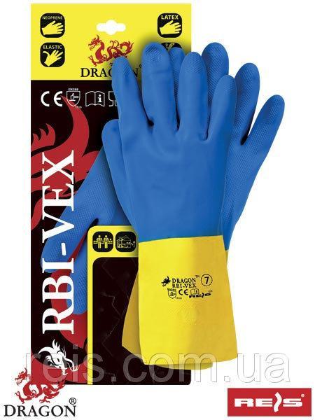 Перчатки желто-синие RBI-VEX с неопренового каучука и латекса - REIS, размер 9