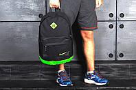 Рюкзак в стиле Nike городской мужской с отделением для ноутбука с кожаным дном (черный с салатовым)