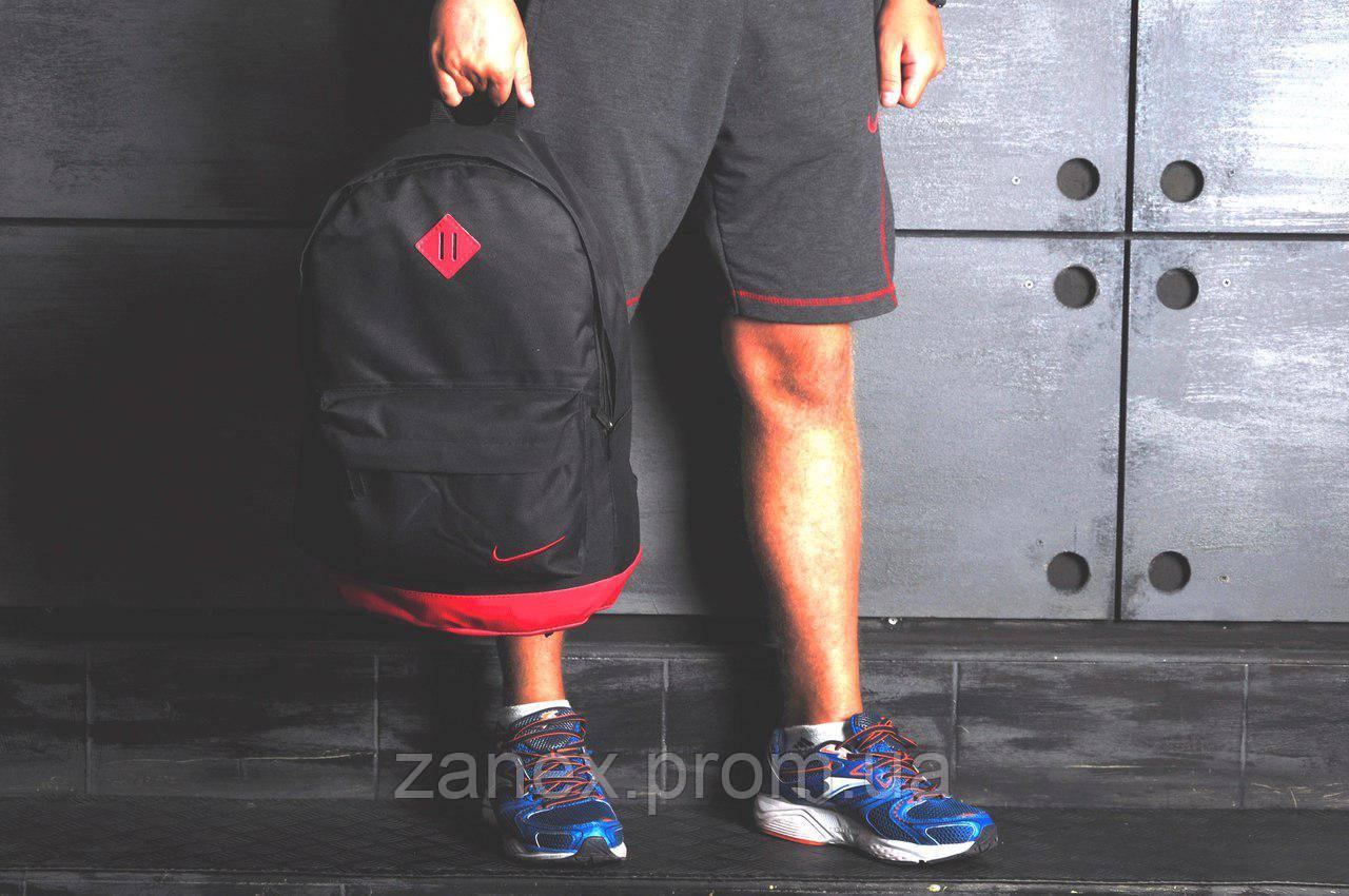 Рюкзак в стиле Nike городской мужской с отделением для ноутбука с кожаным дном (черный с красным)