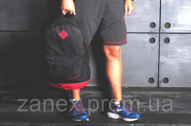 Рюкзак в стиле Nike городской мужской с отделением для ноутбука с кожаным дном (черный с красным), фото 2
