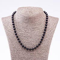 Бусы из натурального камня черный Агат (пресс) гладкий шарик d-8мм L-48см