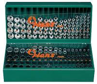 """Полка с торцевыми головками Hans 1/2"""" 10-32 мм, 6гран., 125 предметов (46128М)"""