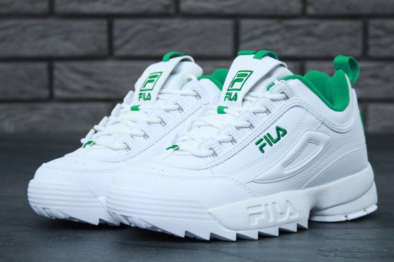 Женские кроссовки Fila Disruptor II (в стиле Фила Дизраптор 2) белые с  зеленым - 9b1fb42429d