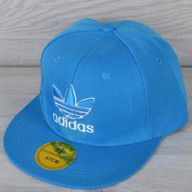 """Реперка взрослая """"Adidas"""". Размер 57-58 см. Голубая. Оптом и в розницу."""