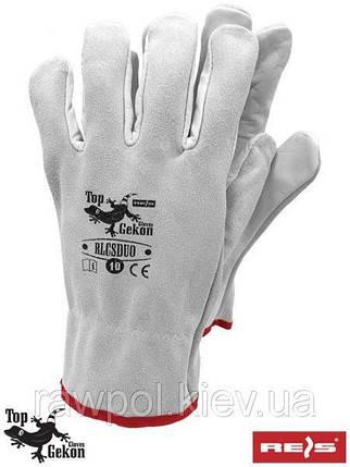 Перчатки защитные RLCSDUO JSW - изготовлены из кожи, серого цвета, REIS, размер 10, фото 2