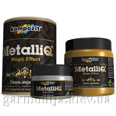 """Эмаль акриловая METALLIQ Kompozit, 0.5 кг """"Черный жемчуг"""", фото 2"""