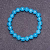 Браслет из натурального камня Аквамарин темно голубой граненный шарик d- 8мм (+-) на резинке обхват 18см