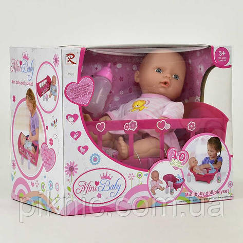 Пупс с кроваткой и аксессуарами, музыкальный. Пупсик, кукла, куколка, игрушка для девочек, фото 2