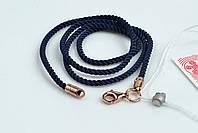 Темно синий шнурок на шею с позолотой