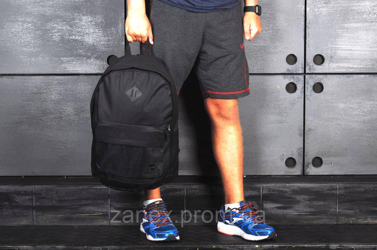 Рюкзак в стиле Reebok городской мужской с отделением для ноутбука с кожаным дном (черный)