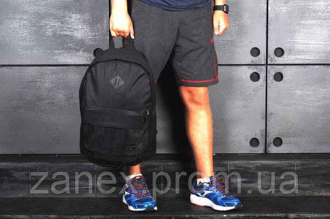 Рюкзак в стиле Reebok городской мужской с отделением для ноутбука с кожаным дном (черный), фото 2